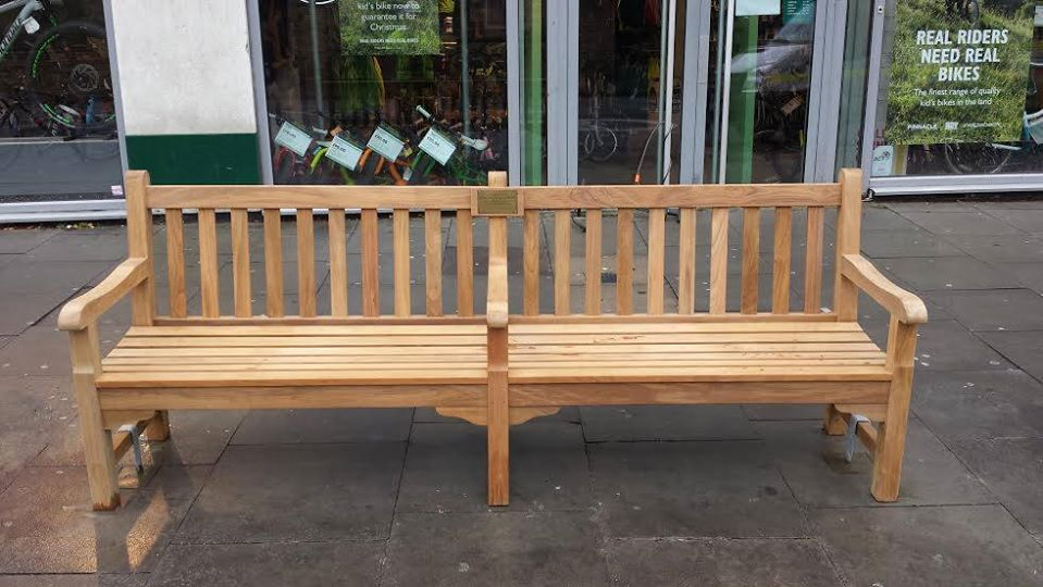 A new bench for Louise opposite the Roundhouse in Camden